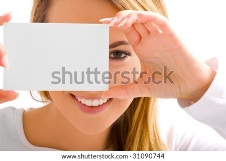 eye and card - stock photo