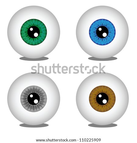Eye balls in different colors, vector illustration - stock photo