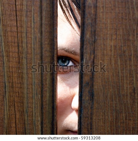 Eye behind wooden fence staring - stock photo
