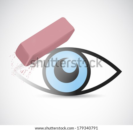 eye being erase illustration design over a white background - stock photo