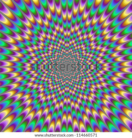 Eye Bender/Digital abstract image with a psychedelic design producing the illusion of movement in yellow, green, blue and pink.
