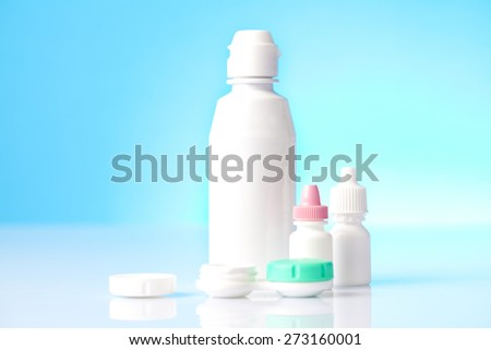 eye care liquids and drops for contact lenses users - stock photo