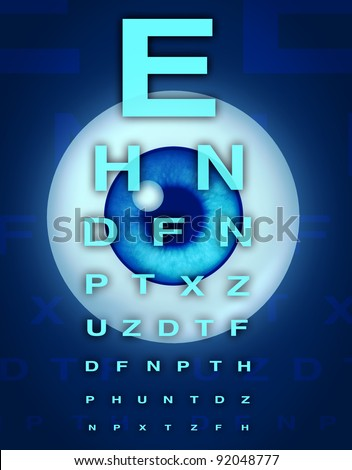 Eye chart and vision medical optometrist symbol for the human eye and laser surgery to remove cataracts from age related focus sight problems. - stock photo