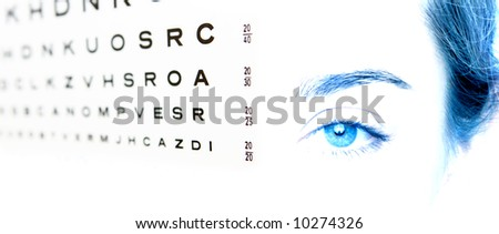 eye chart test A in focus and the eye 20-20 - stock photo