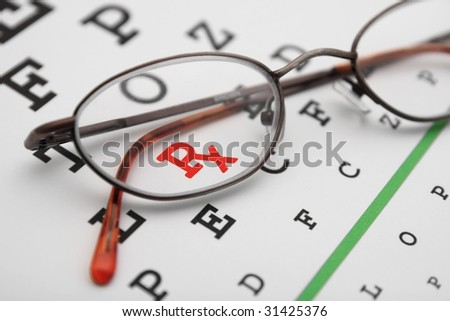 eye chart with glasses and prescription symbol - stock photo