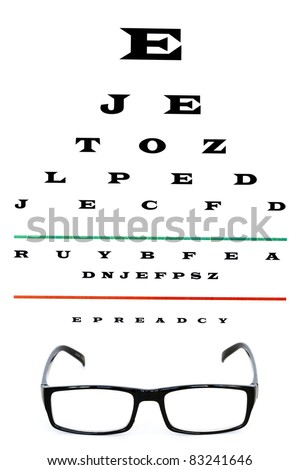 eye chart with reading glasses - stock photo
