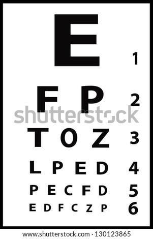 Eye chart with six lines of black letters on white background - stock photo