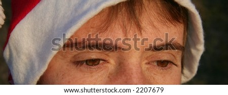 eye christmas girl close-up - stock photo