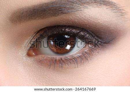 eye close up, makeup - stock photo