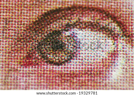 eye close-up, printable in a newspaper - stock photo
