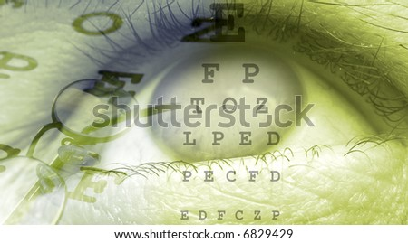 eye close up template design in green color - stock photo