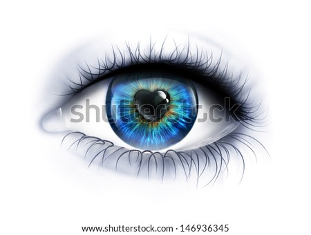 Eye close-up with a heart-shaped pupil - stock photo