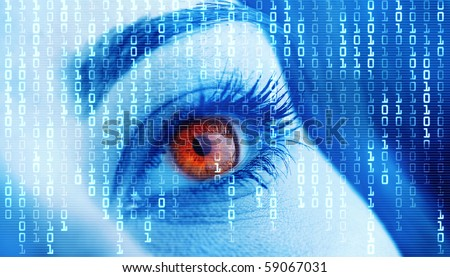 Eye close-up with technology background - stock photo