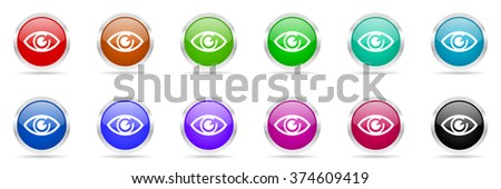 eye colorful web icons set