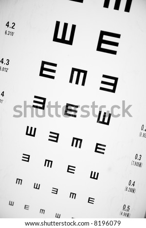 Eye Exam Chart close up shot - stock photo
