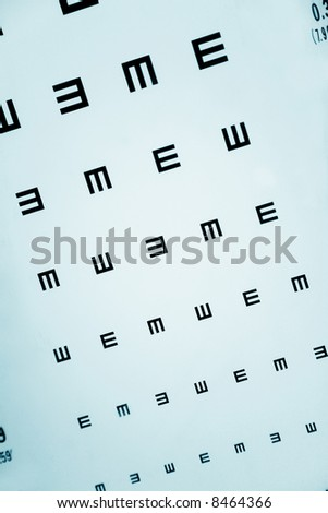 Eye Exam Chart close up shot - stock photo