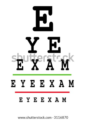 Eye exam chart - conceptual - stock photo