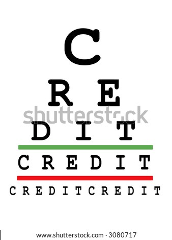 Eye exam chart made up of credit words - stock photo