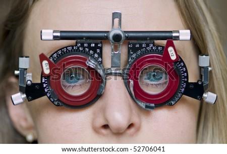 Eye examination. - stock photo