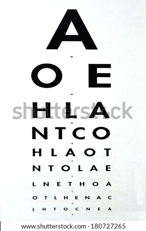 Eye examination - Traditional Snellen chart used for visual acuity testing. concept photo of health and medical care. - stock photo