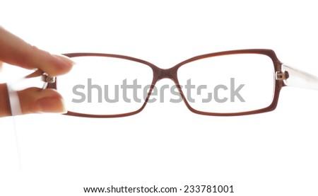 Eye glasses isolated on white - stock photo