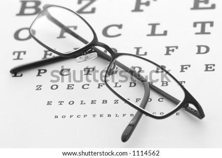 Eye glasses on a test chart - stock photo