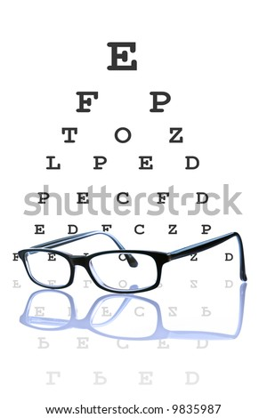 Eye glasses reflected, with optometrist chart on background. - stock photo