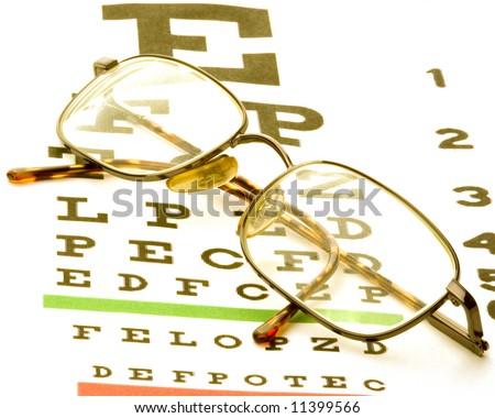eye glasses sitting on a eye chart on white - stock photo