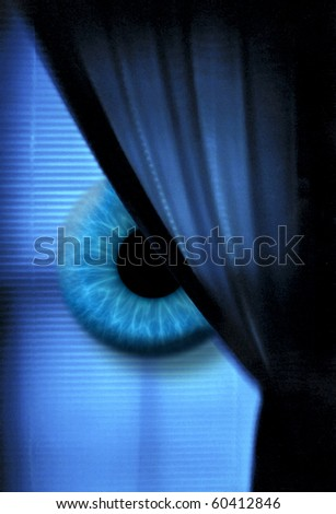 Eye in window - stock photo