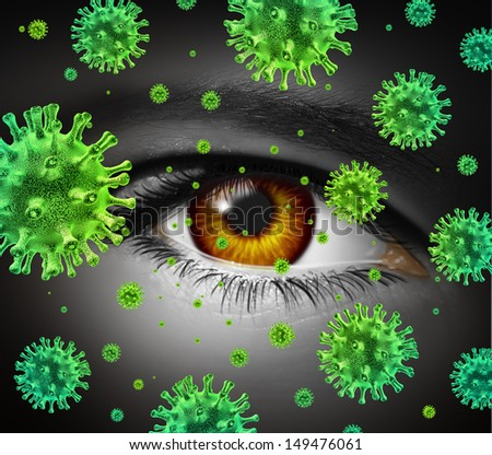 Eye infection as a contagious ocular disease transmitting a virus with human vision spreading dangerous infectious germs and bacteria during cold or flu symptoms. - stock photo