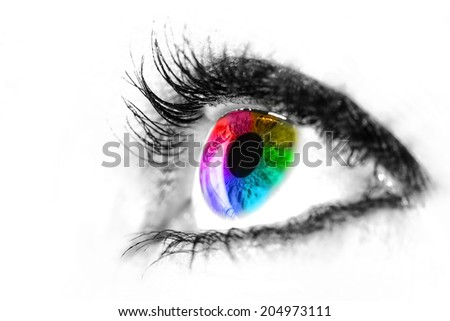Eye macro in high key black and white with colourful rainbow in the iris - stock photo