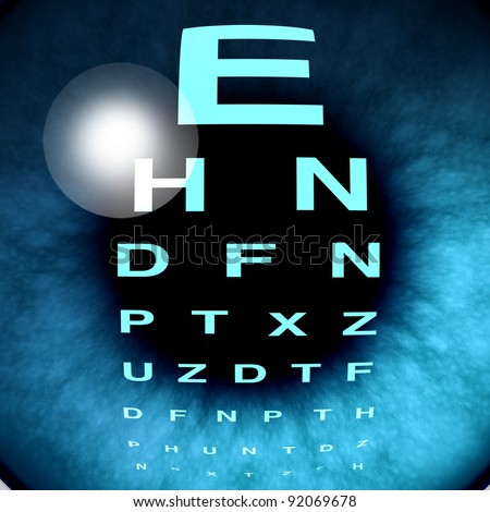 Eye macro vision and eyesight for healthy eyes using an eye chart to help focus for near sighted and far sighted retina and lens diagnosis from an optometrist from the department of ophthalmology. - stock photo