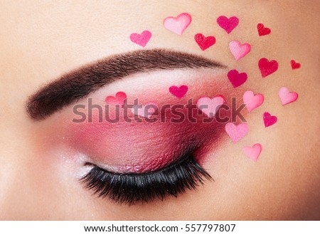 eye makeup girl heart valentines day stock photo 557797807