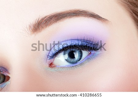 Eye make-up with bright saturated colors - macro shot