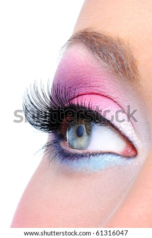 Eye make-up with bright saturetad colors - macro shot - stock photo