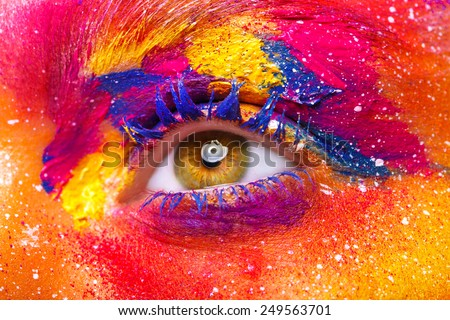 Eye Makeup. Beautiful Eyes Glitter Make-up. Holiday Makeup detail. False Lashes Colors.  - stock photo