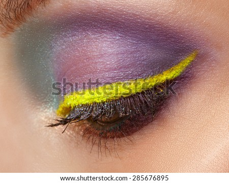 Eye Makeup. Beautiful Eyes Glitter Make-up. Holiday Makeup detail. Macro. - stock photo