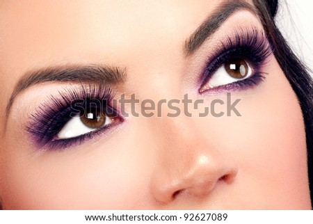 Eye makeup close-up - stock photo