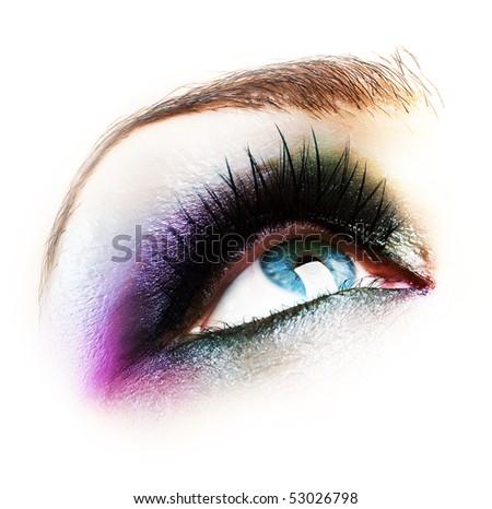 Eye Makeup isolated on white - stock photo