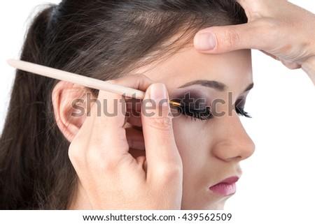 eye makeup on a white background - stock photo