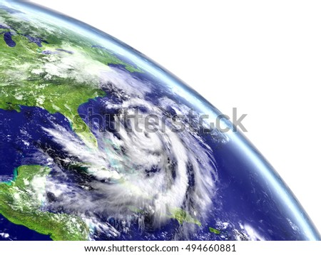 Eye of hurricane Matthew approaching Florida in America. 3D illustration. Elements of this image furnished by NASA