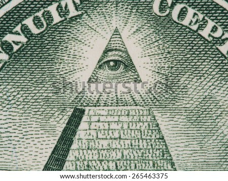 Eye of Providence (all-seeing eye of God) from US one dollar bill super macro, great seal, united states money closeup - stock photo