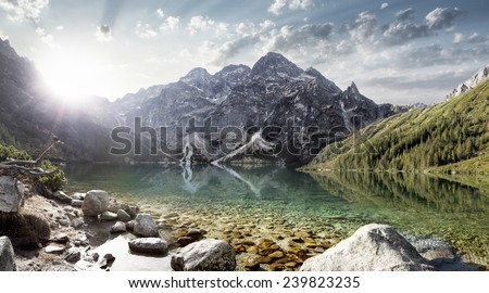 Eye of the Sea lake in Tatra mountains, Poland - stock photo