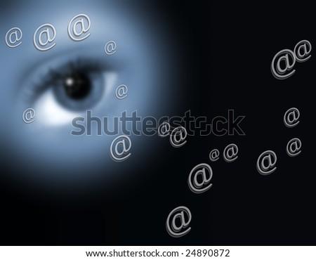 Eye on black overlaid with email symbols - stock photo
