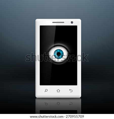 Eye on the screen of your smartphone - stock photo