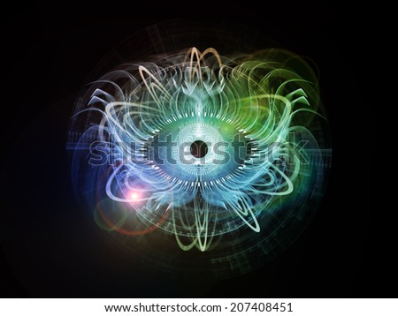 Eye Particle series. Background design of eye shape and fractal elements on the subject of spirituality, art and  technology - stock photo