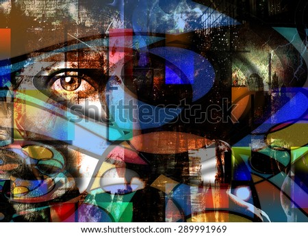 Eye Peers out from Abstract - stock photo