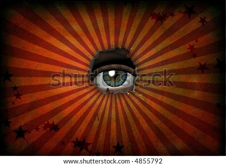 Eye peers out from grunge - stock photo