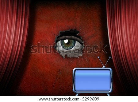 Eye peers out from stage with retro TV - stock photo