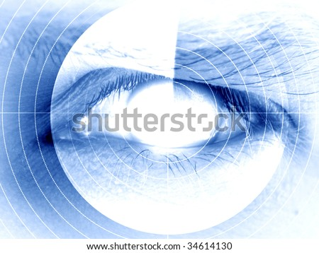 eye scan on a soft blue background - stock photo